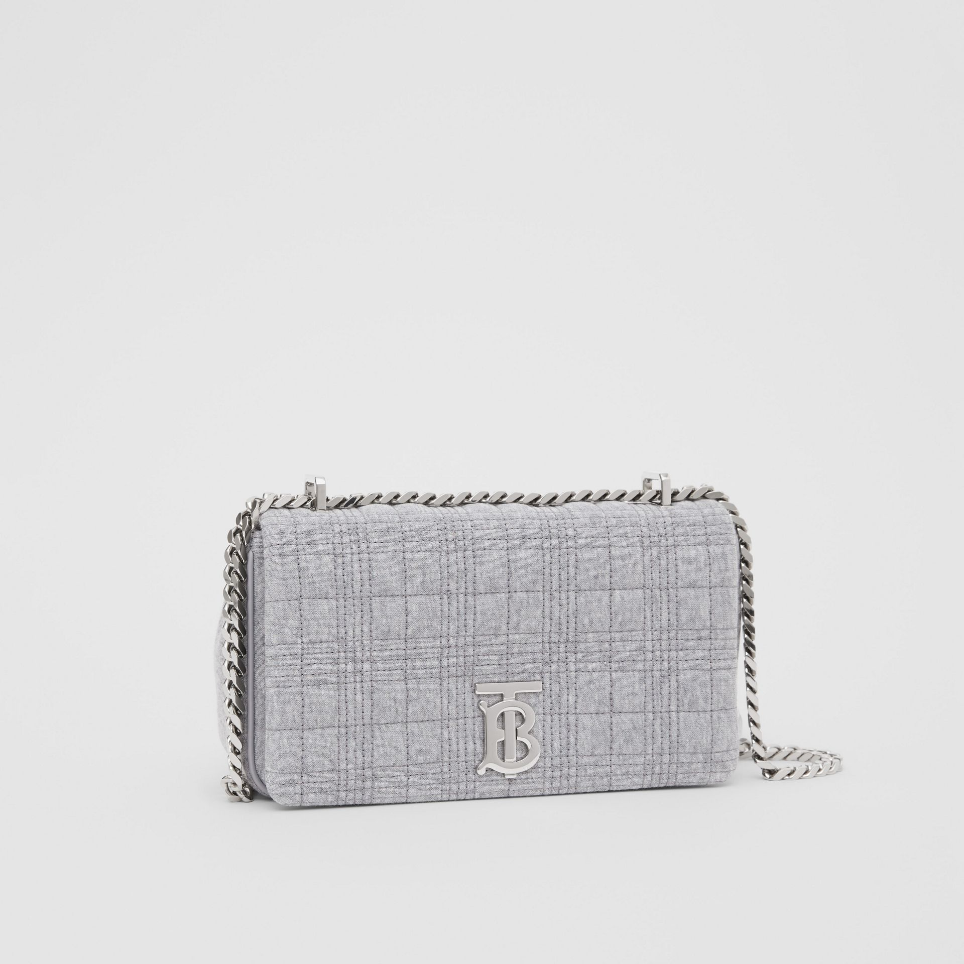 Small Quilted Jersey Lola Bag in Grey Taupe Melange | Burberry Canada - gallery image 4