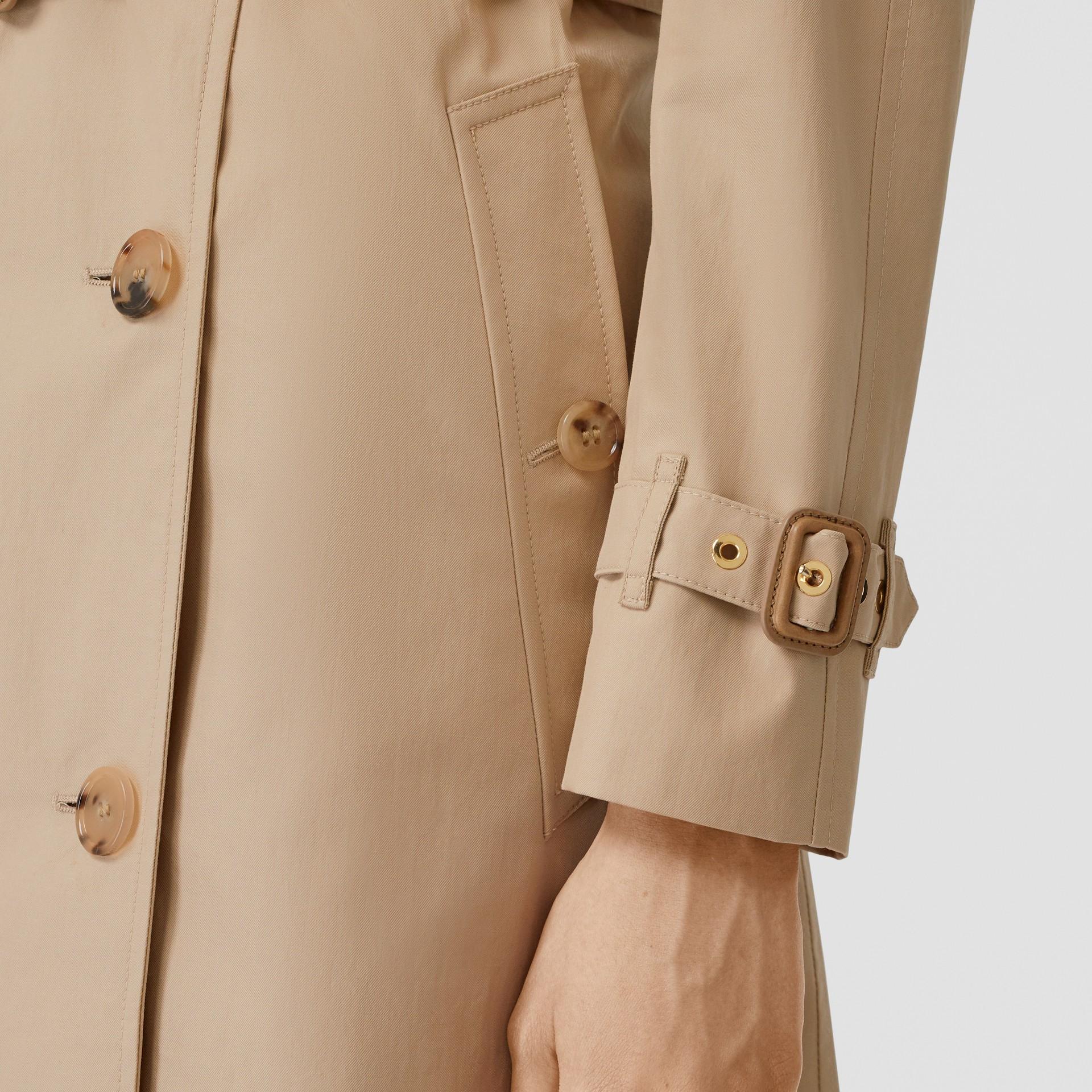 Detachable Collar Cotton Gabardine Trench Coat in Ecru - Women | Burberry United Kingdom - gallery image 4