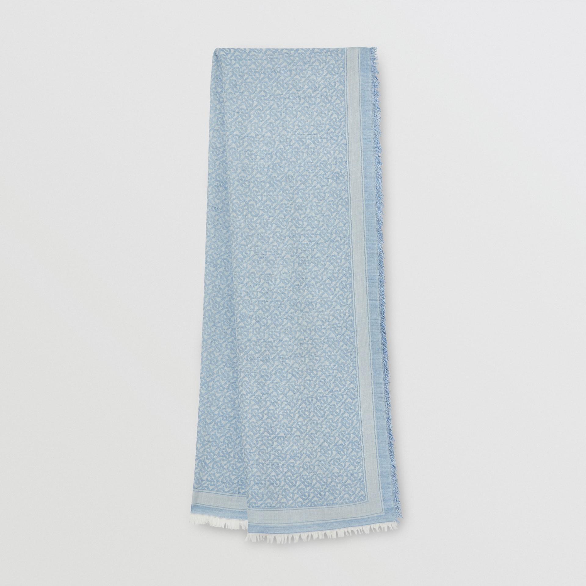 Monogram Wool Silk Jacquard Scarf in Denim Blue | Burberry United Kingdom - gallery image 0