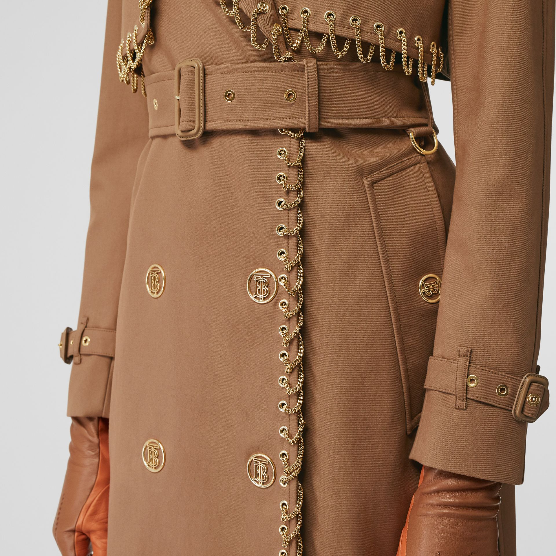 Chain Detail Cotton Gabardine Trench Coat in Warm Walnut - Women | Burberry - gallery image 5