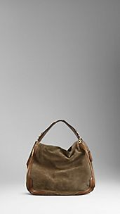 Large Hunting Suede Hobo Bag
