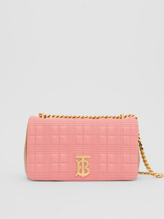 Small Quilted Two-tone Lambskin Lola Bag in Peony/camel