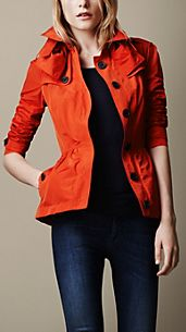Short Technical Taffeta Peplum Trench Coat