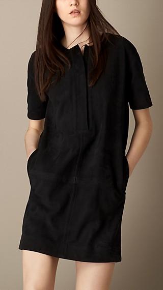 Zip-Front Suede Dress