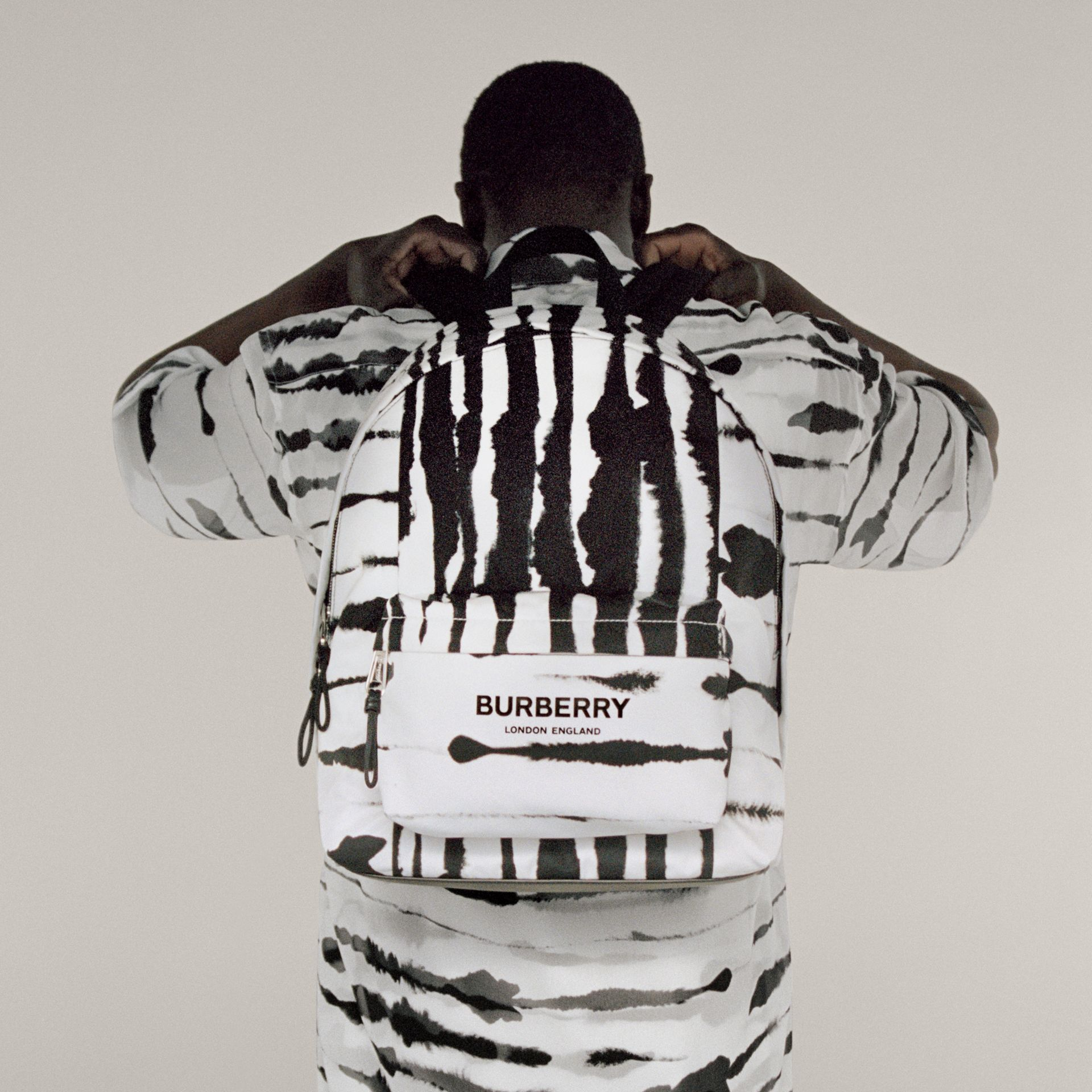 Watercolour Print ECONYL® Backpack in Black/white | Burberry - gallery image 8