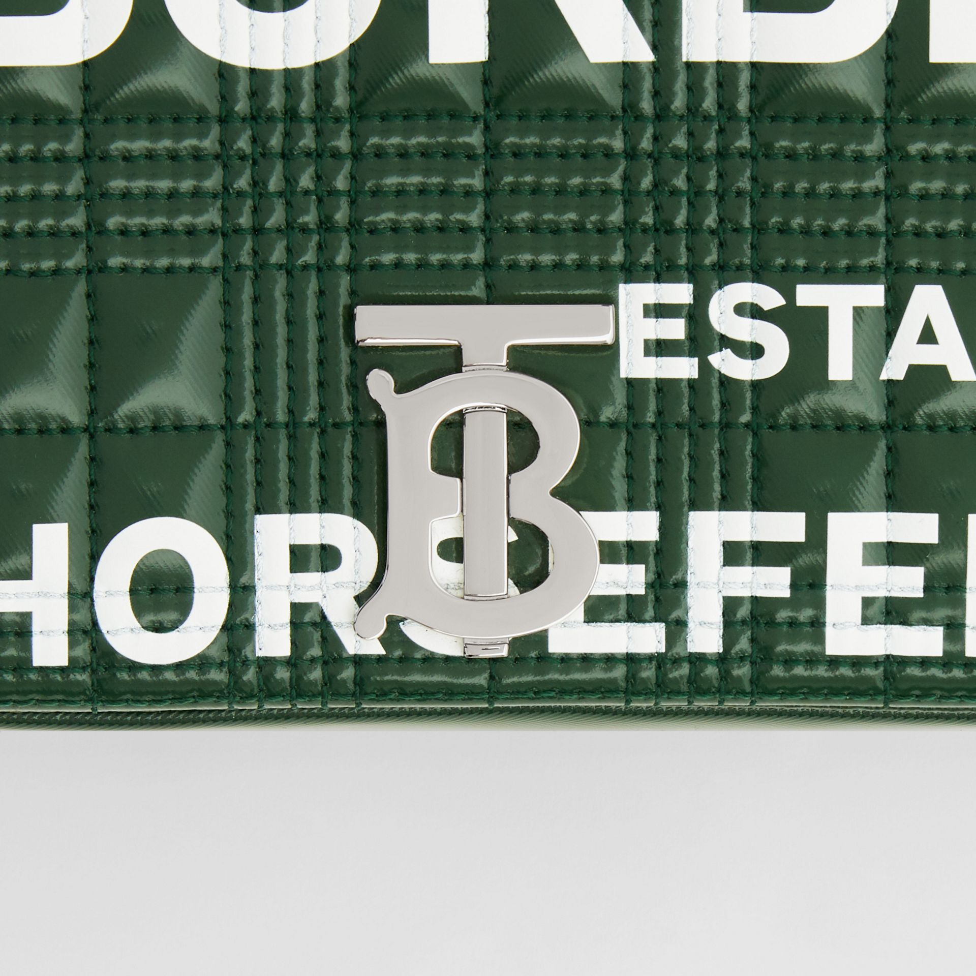 Small Horseferry Print Quilted Lola Bag in Dark Pine Green/white - Women | Burberry United States - gallery image 1