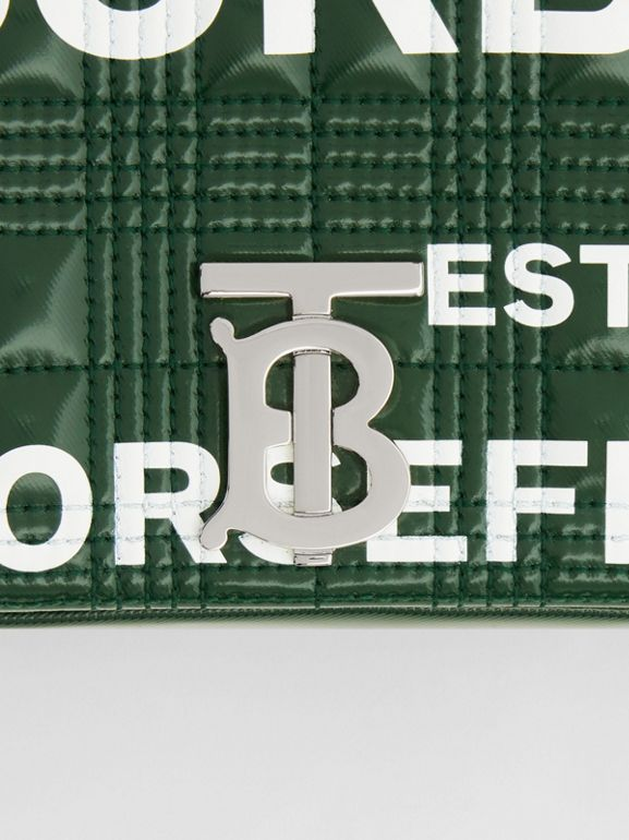 Small Horseferry Print Quilted Lola Bag in Dark Pine Green/white - Women | Burberry United States - cell image 1