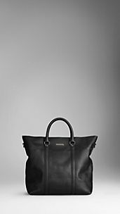 Embossed Check Leather Tote Bag