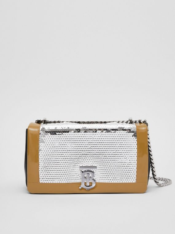 Small Tape Detail Sequinned Lambskin Lola Bag in Black