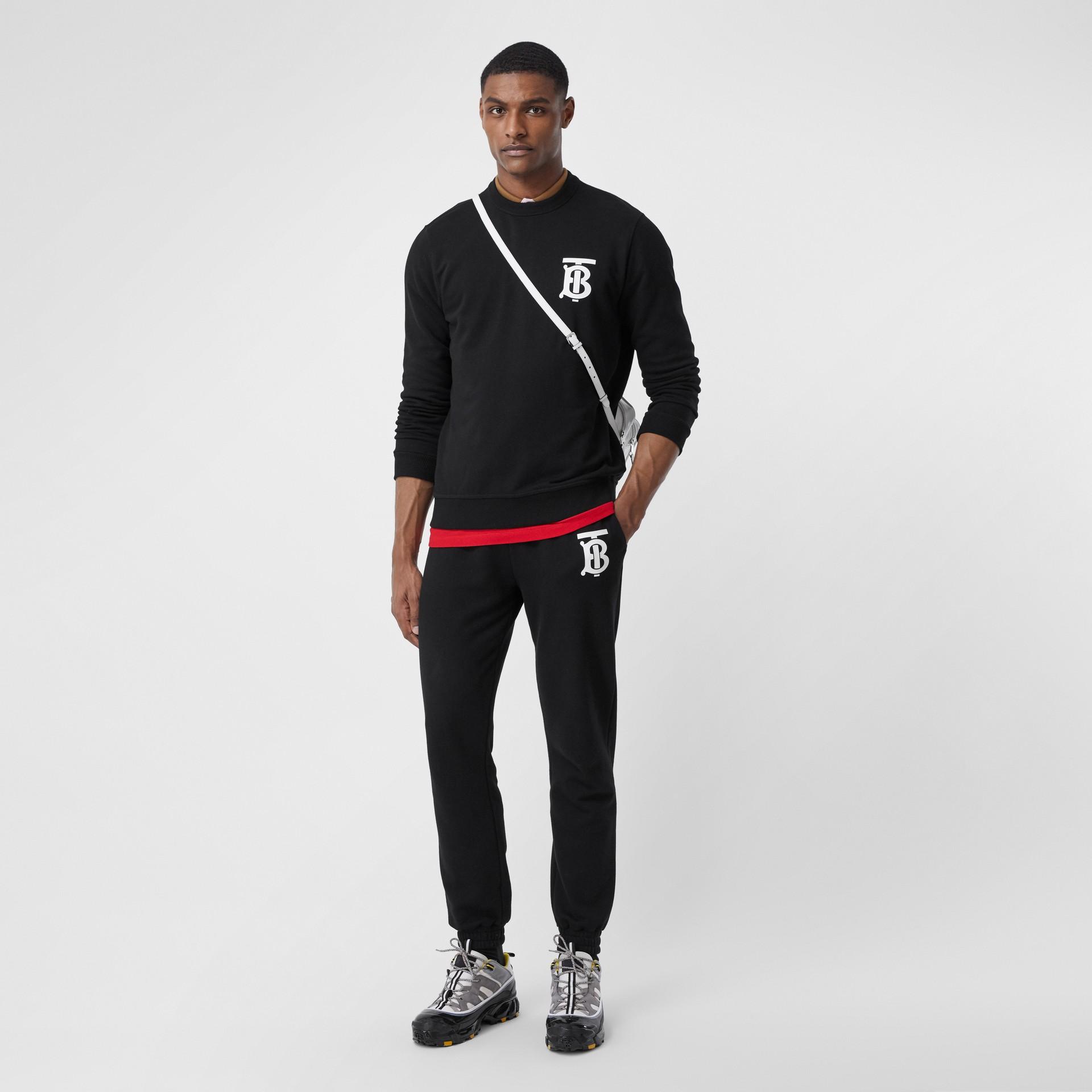 Monogram Motif Cotton Sweatshirt in Black - Men   Burberry - gallery image 0