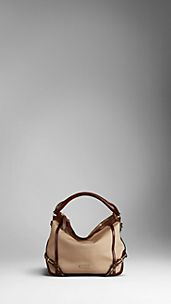 Small Cotton Gabardine and Leather Hobo Bag