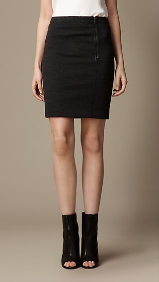 Zip Detail Jersey Skirt