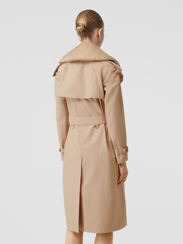Detachable Collar Cotton Gabardine Trench Coat in Ecru - Women | Burberry - cell image 2