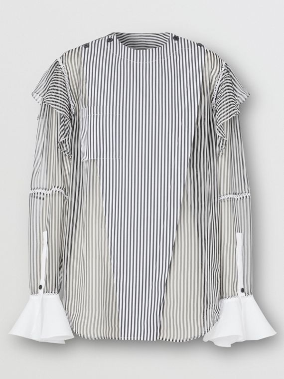 Рубашка из шифона в полоску с отделкой из кружева (Черный)