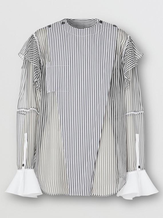 Ruffle Detail Striped Silk Chiffon Shirt in Black
