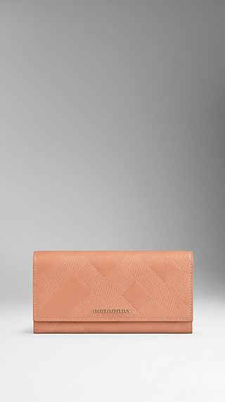 Embossed Check London Leather Continental Wallet