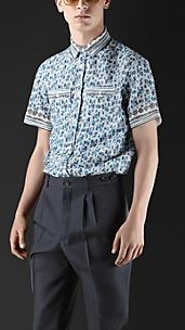 Box Fit Seersucker Engineered Print Shirt