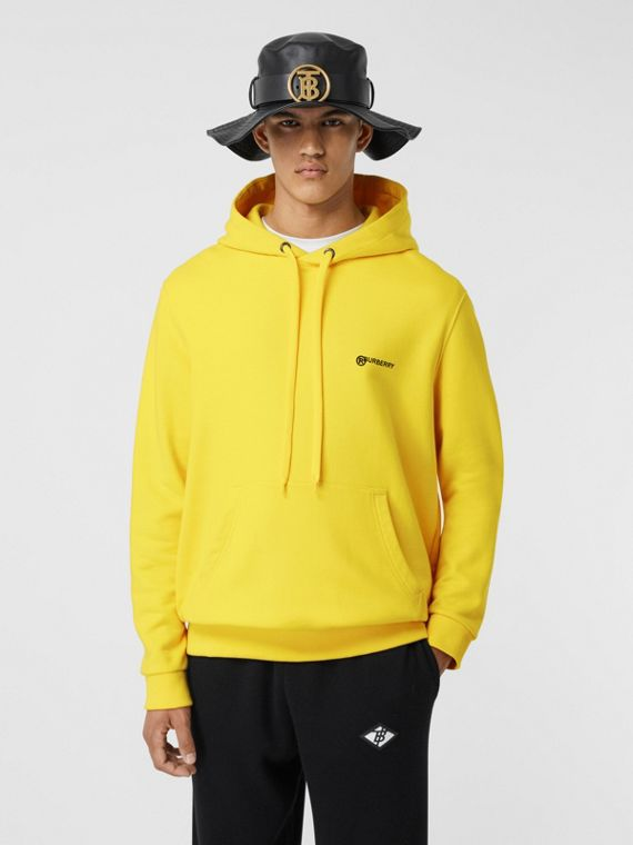 Logo Print Cotton Hoodie in Canary Yellow