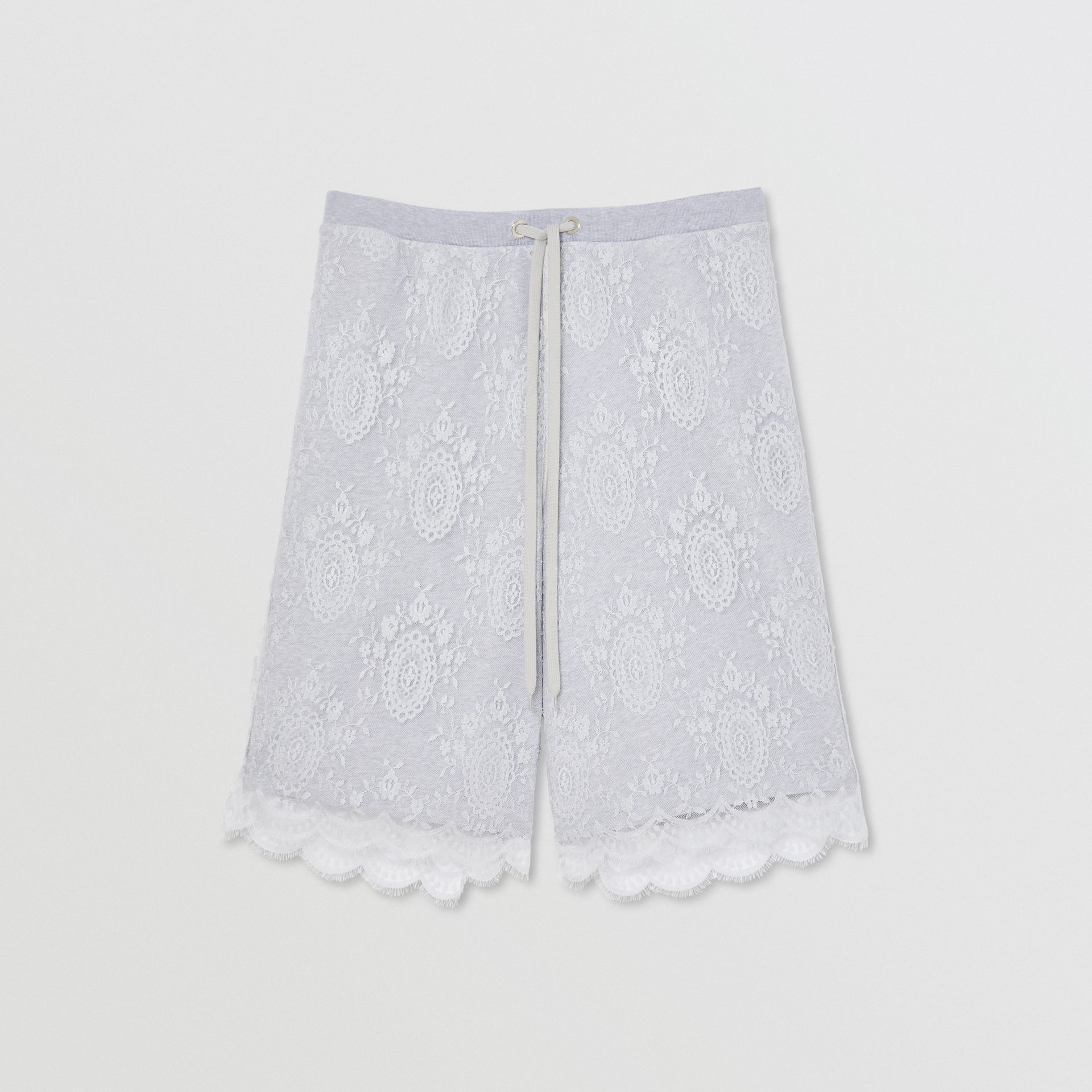 Chantilly Lace and Cotton Drawcord Shorts in Light Pebble Grey | Burberry - gallery image 3