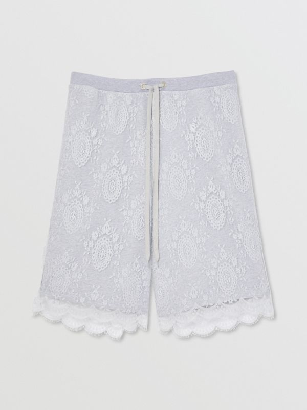 Chantilly Lace and Cotton Drawcord Shorts in Light Pebble Grey | Burberry - cell image 3