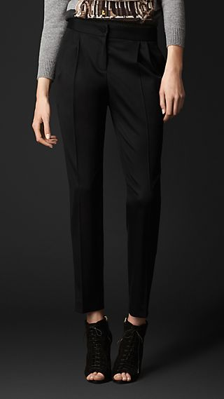 Stretch-Wool Pleat-Front Trousers