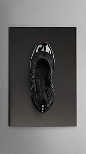 Stud Detail Patent Leather Ballerinas