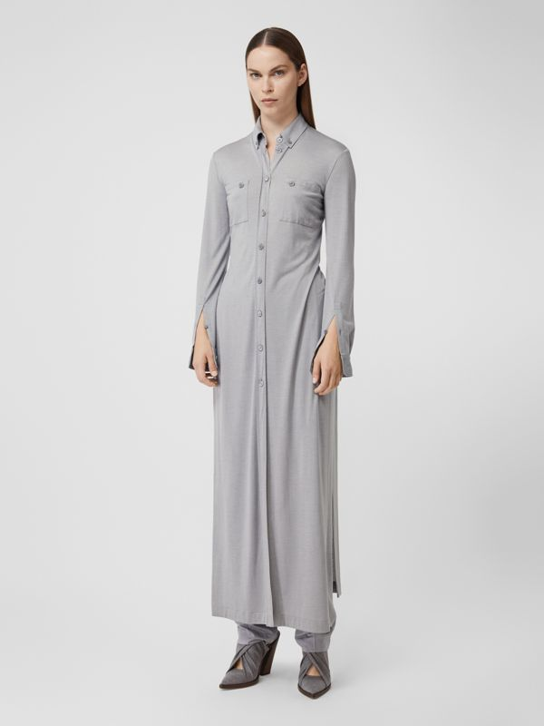 Side-slit Wool Silk Jersey Shirt Dress in Pewter Melange - Women | Burberry - cell image 3