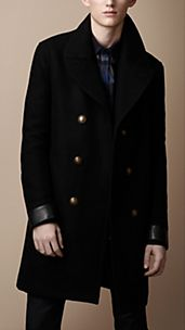 Wool Blend Leather Detail Coat