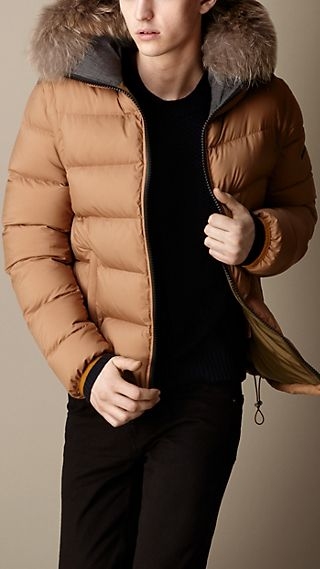 Fur Trim Down-Filled Puffer Jacket