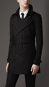 Trench-coat mi-long en coton parachute