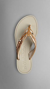Check Buckle Detail Flip Flops