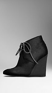 Calfskin Wedge Ankle Boots