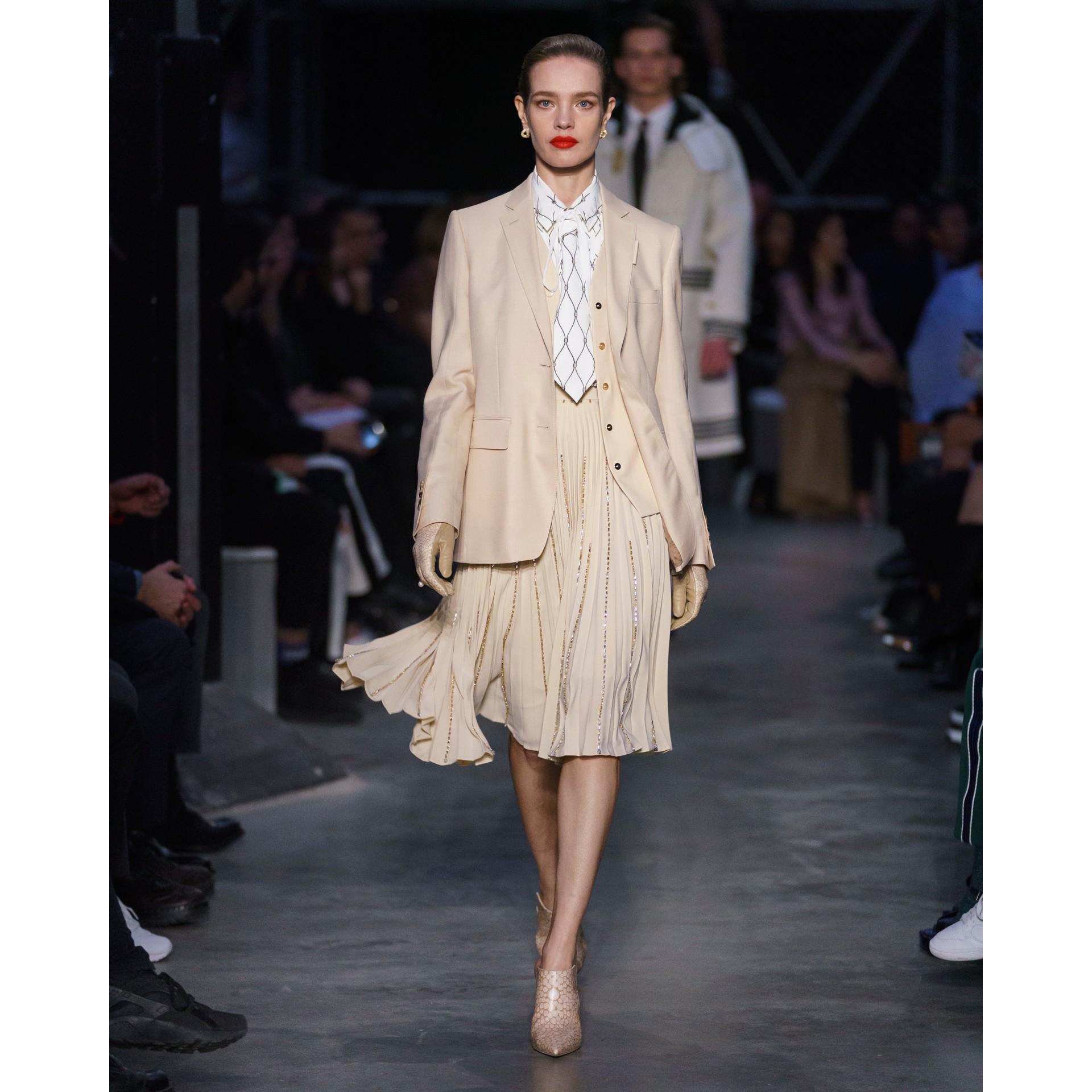 Waistcoat Detail Mohair Silk Blend Blazer in Sesame - Women | Burberry - gallery image 6