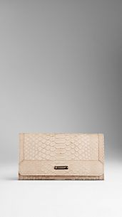 Nude Python Leather Continental Wallet