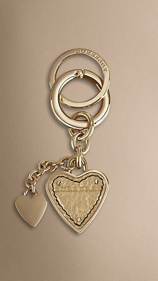 Heritage Grain Leather Double Heart Key Charm