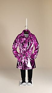 Metallic Silk Trench Coat