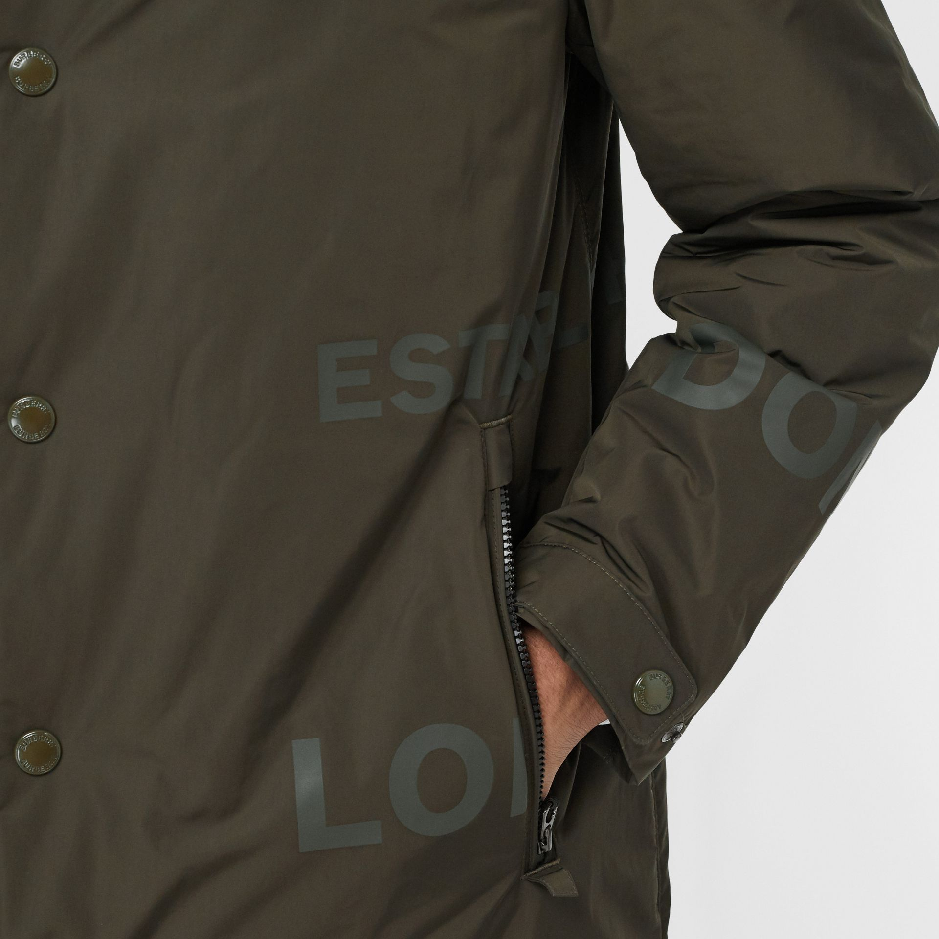 Horseferry Print Shape-memory Taffeta Hooded Coat in Khaki - Men | Burberry - gallery image 1