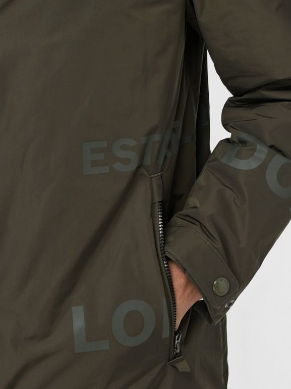 Horseferry Print Shape-memory Taffeta Hooded Coat in Khaki - Men | Burberry - cell image 1