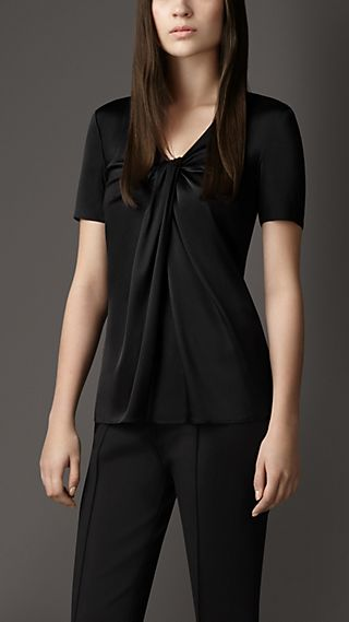 Twist-Front Silk Top