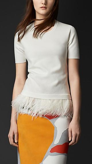Ostrich Trim Cotton T-Shirt