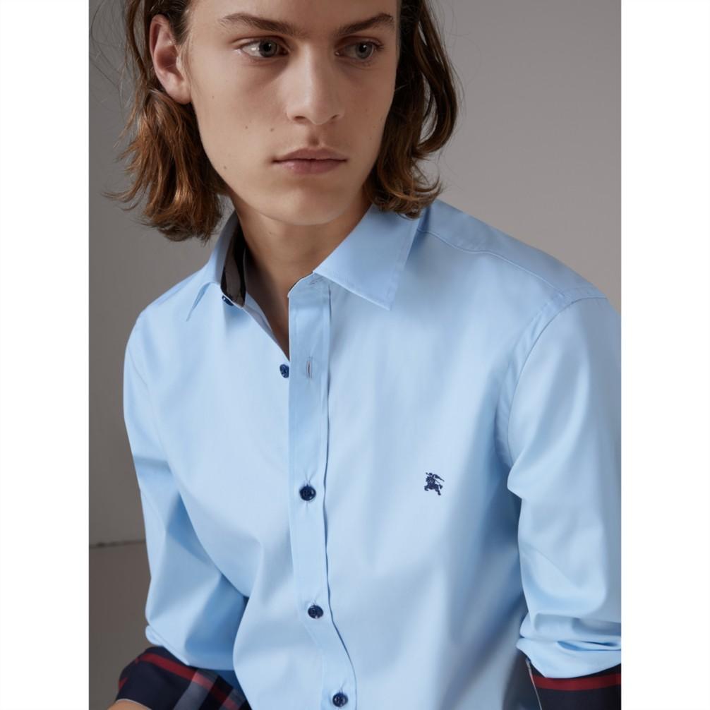 浅蓝色 树脂纽扣棉府绸衬衫 产品图片11