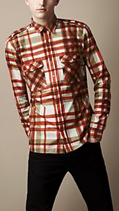 Painted Check Cotton Military Shirt
