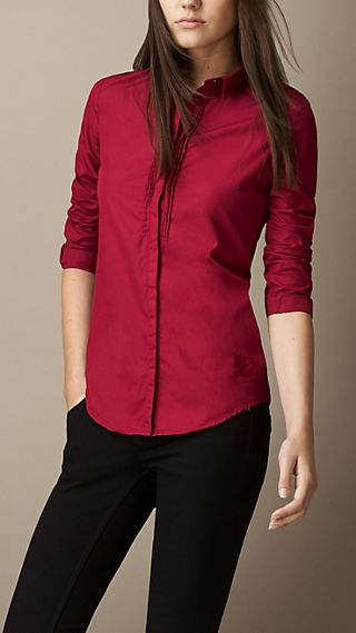 Pleat Detail Cotton Shirt