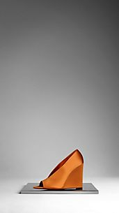 Satin Peep-Toe Wedge Pumps