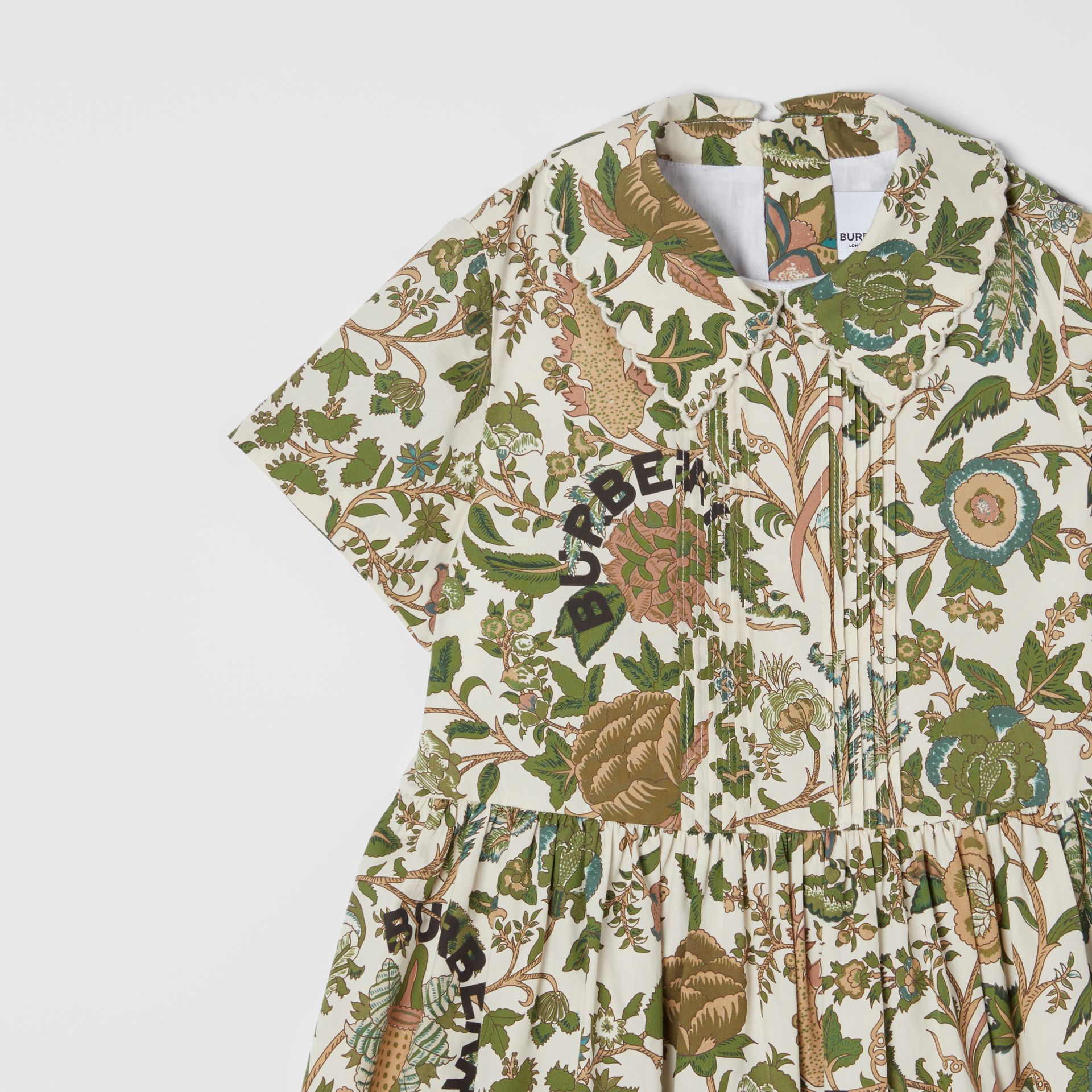 Botanical Print Cotton Dress in Olive | Burberry Hong Kong S.A.R - gallery image 4