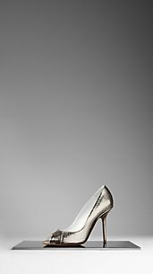 Metallic Snakeskin Peep-Toe Pumps
