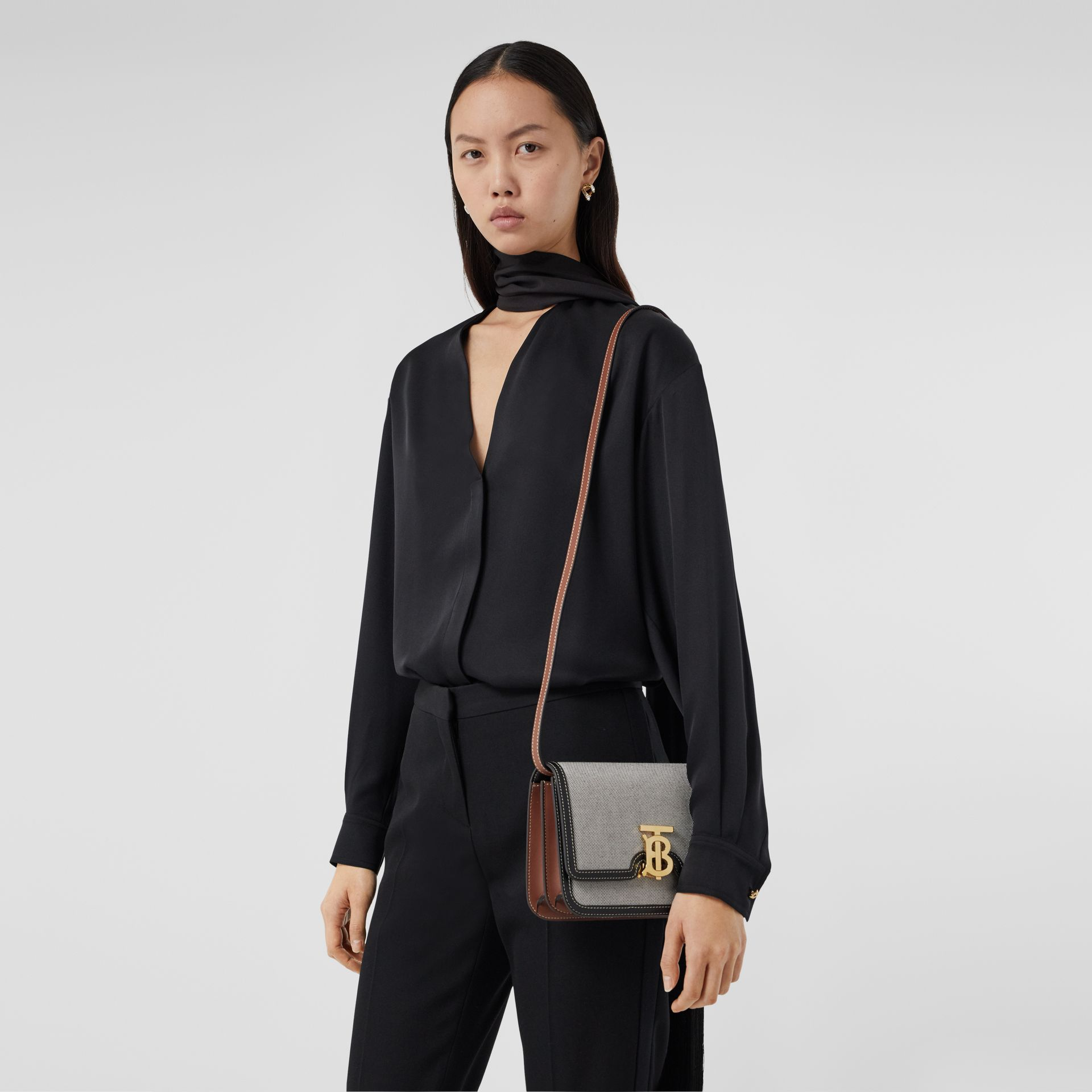 Small Tri-tone Canvas and Leather TB Bag in Black/tan - Women | Burberry United States - gallery image 8
