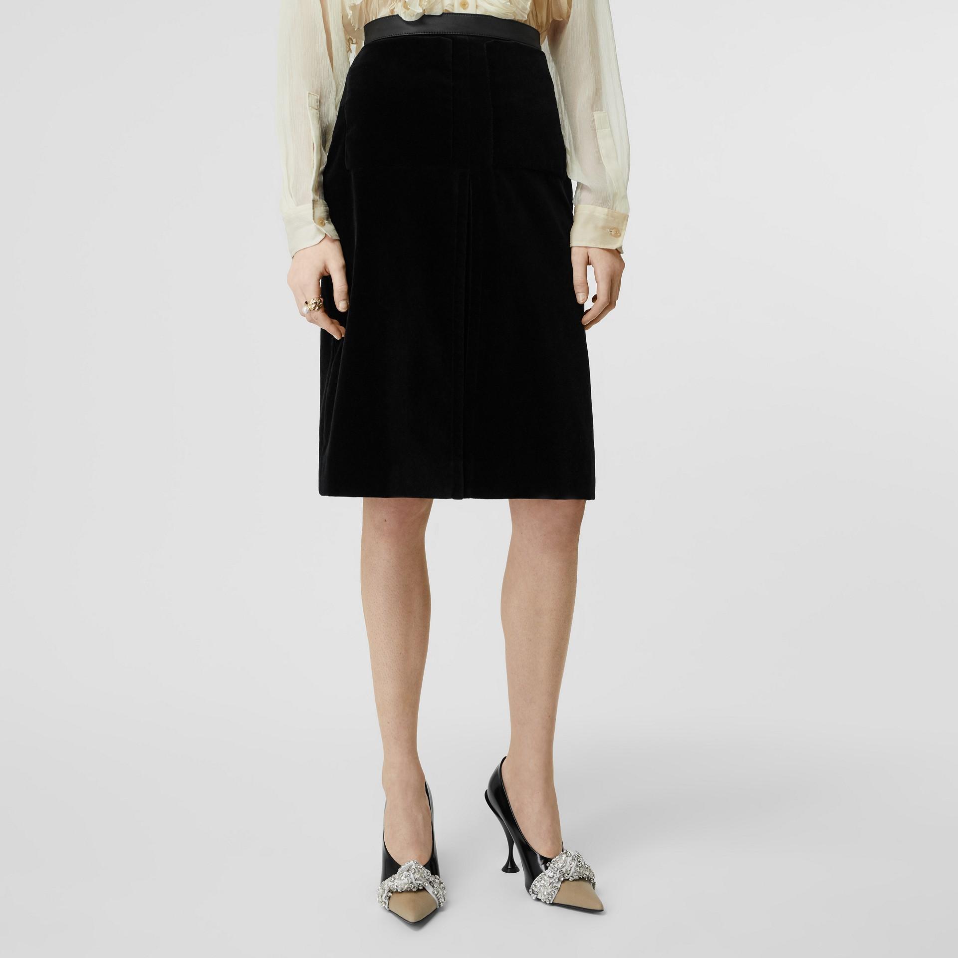 Lambskin Trim Box Pleat Detail Velvet and Wool Skirt in Black - Women | Burberry - gallery image 4