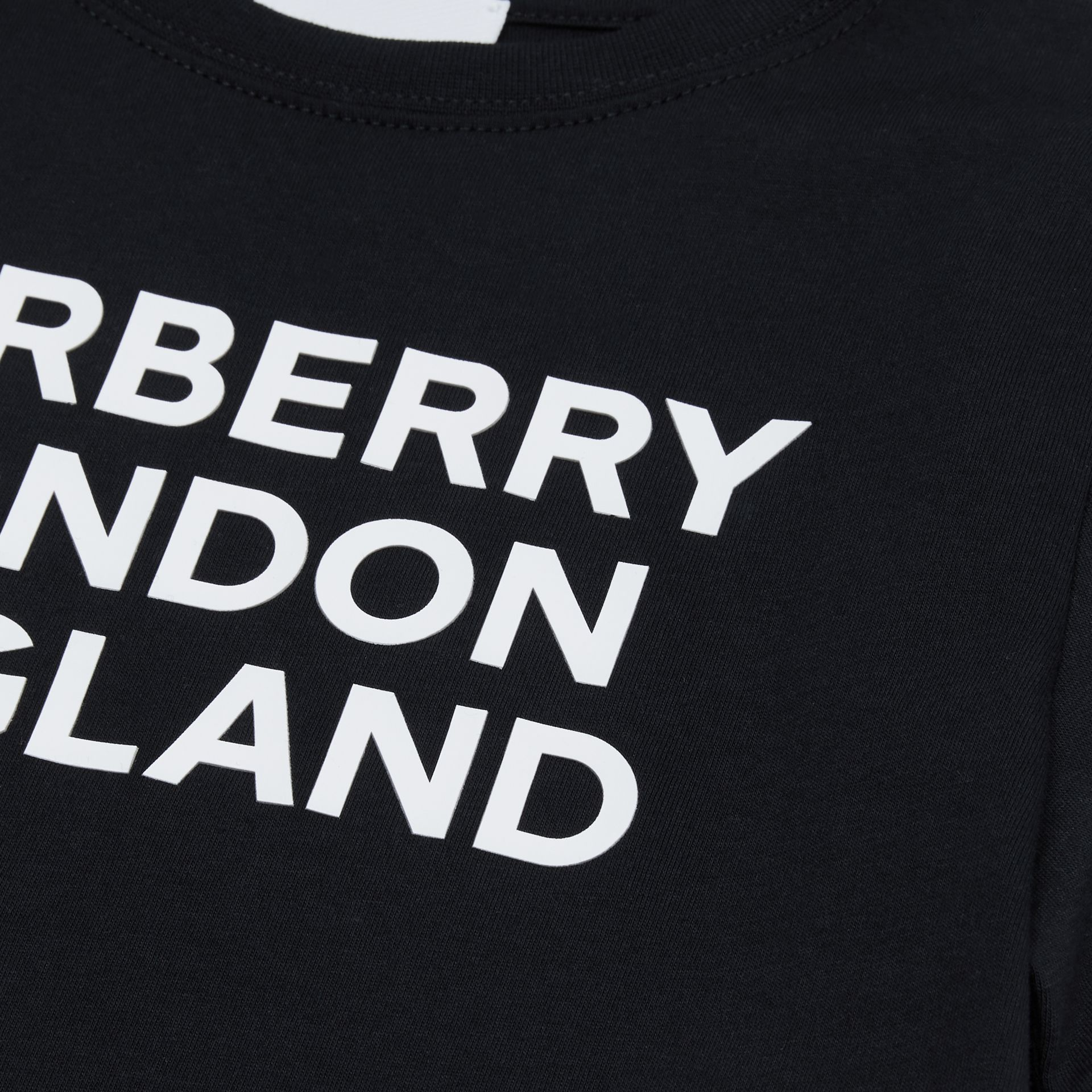 Logo Print Cotton T-shirt in Black | Burberry - gallery image 1