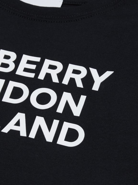 Logo Print Cotton T-shirt in Black | Burberry - cell image 1